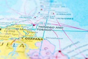 Trinidad & Tobago located on a map