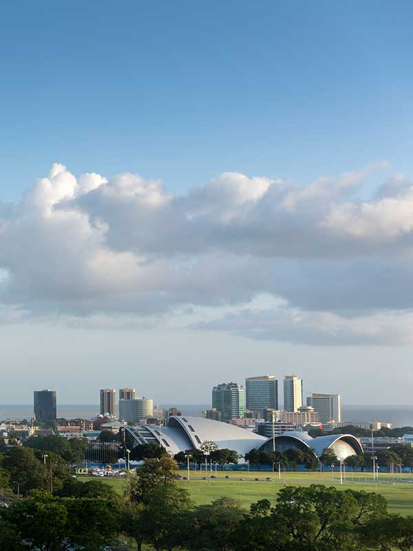 Port of Spain in Trinidad - view of the savannah and buildings