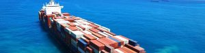 Cargo container ship transporting trade goods