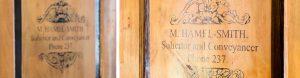 Original door panels from M. Hamel-Smith's first office