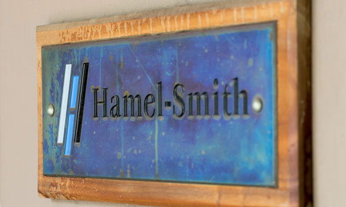 Sign for Hamel-Smith & Co. front doors